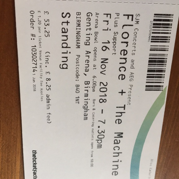 Florence and the Machine standing tickets Birmingham tonight!