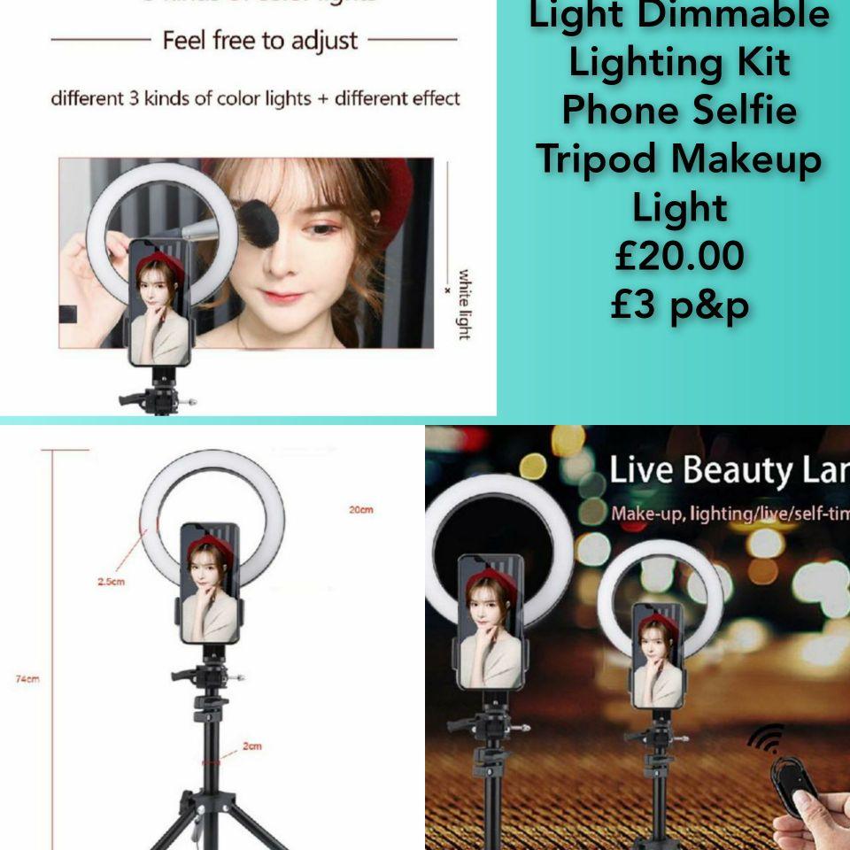 20cm LED Ring Light Dimmable Lighting Kit Phone Selfie Tripod Makeup Light