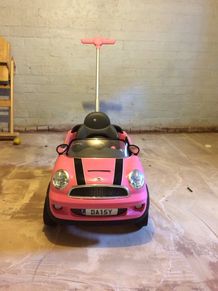Push along Pink Mini Cooper