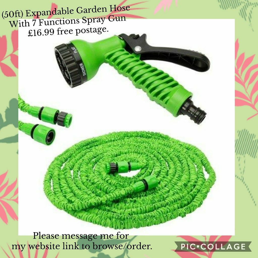 (50ft) Expandable Garden Hose With 7 Functions Spray Gun 💥£16.99 🚛 free shipping 🚛