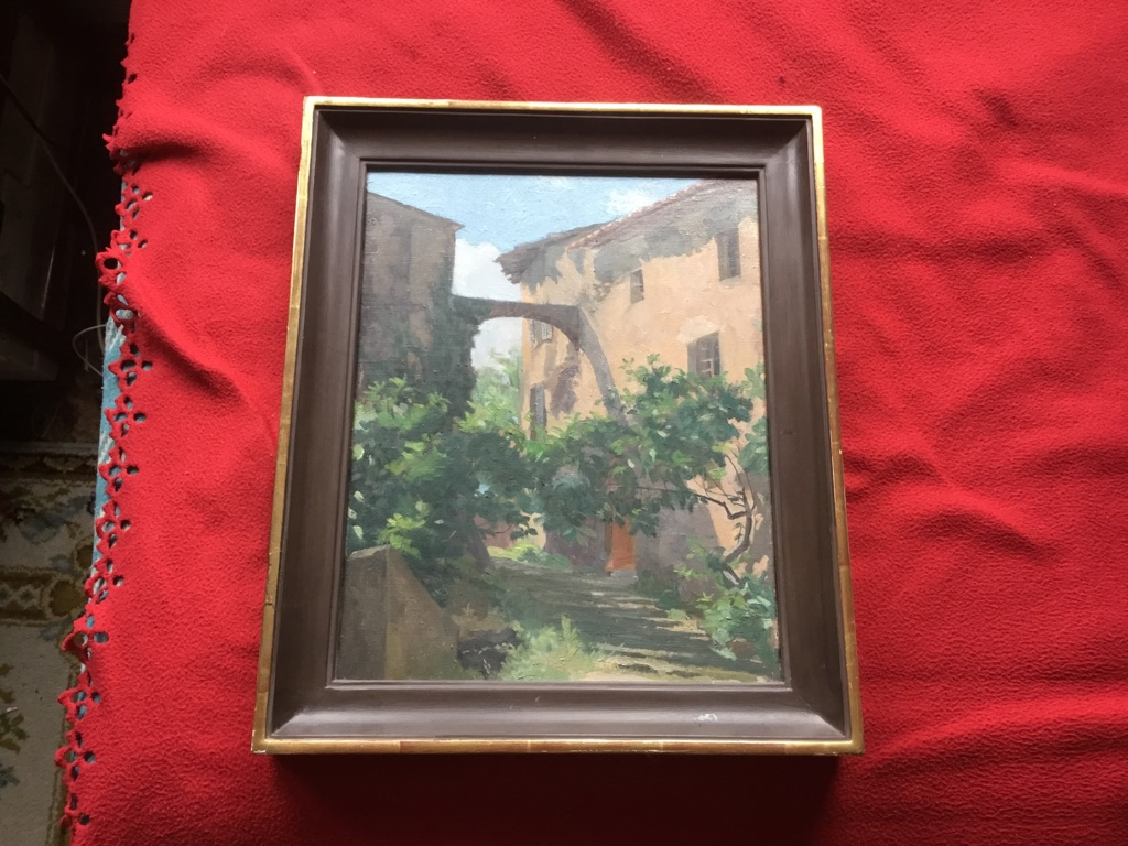 Francis Le Marchant oil on canvas titled cotignac 1978 17in 15in