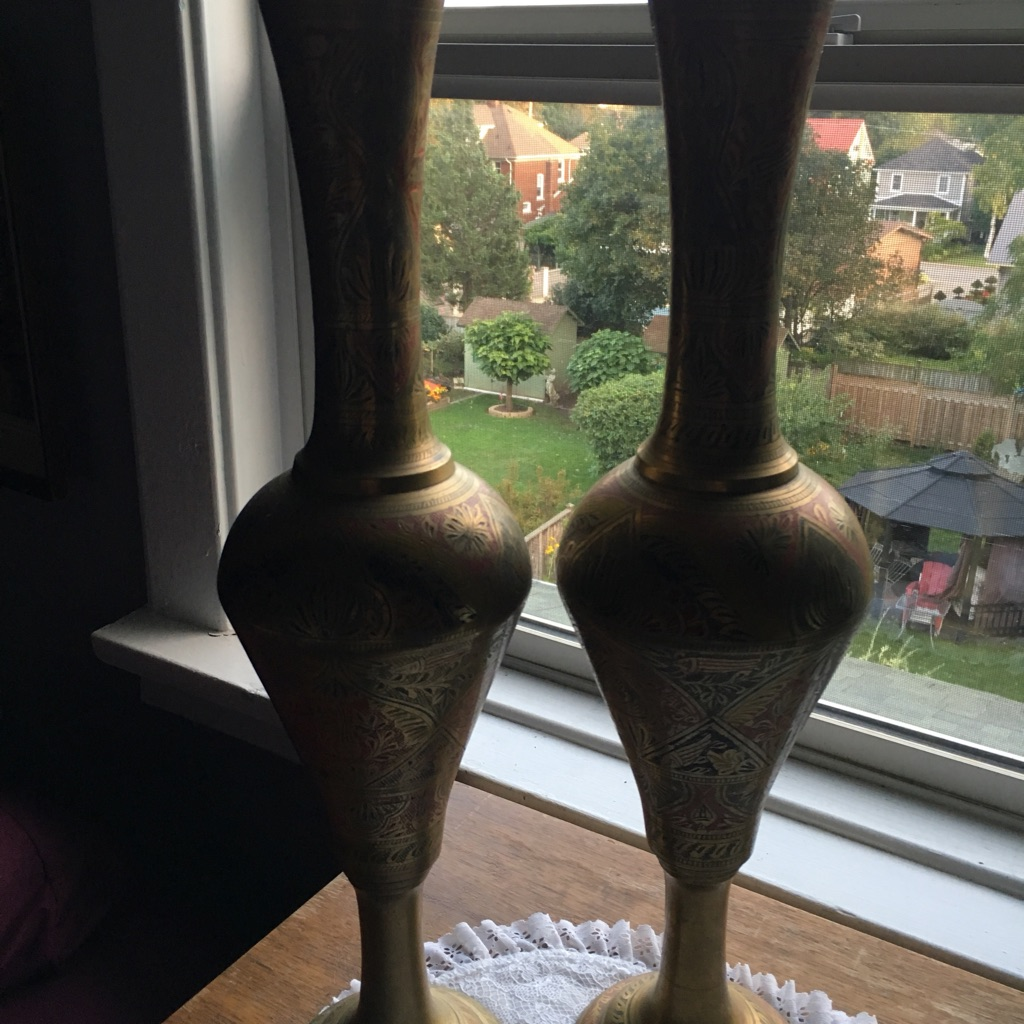 Pair of Brass Egyptian Style Vases