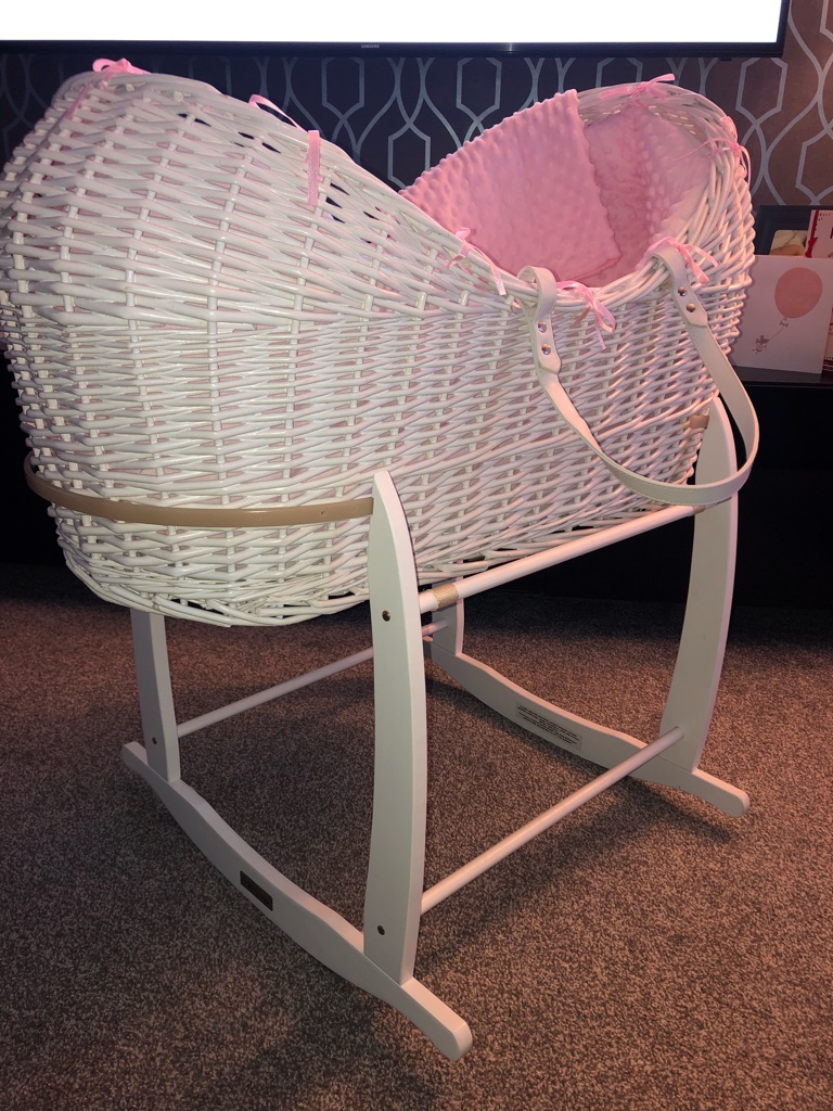 White and pink Moses basket and stand
