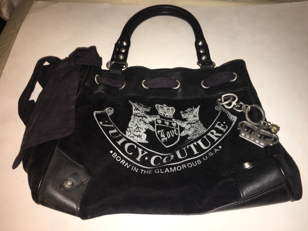 Juicy Couture Black Velvet Daydreamer Bowler Bag