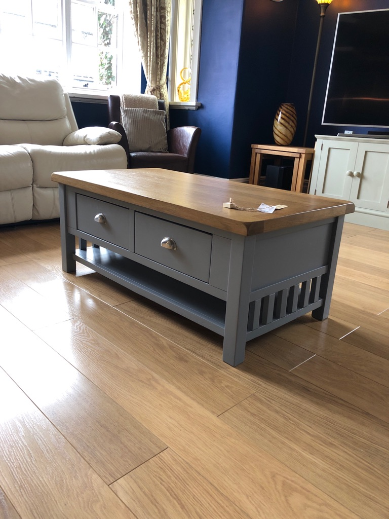 Oak Table with two drawers grey