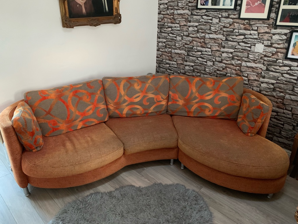 Retro curved sofa