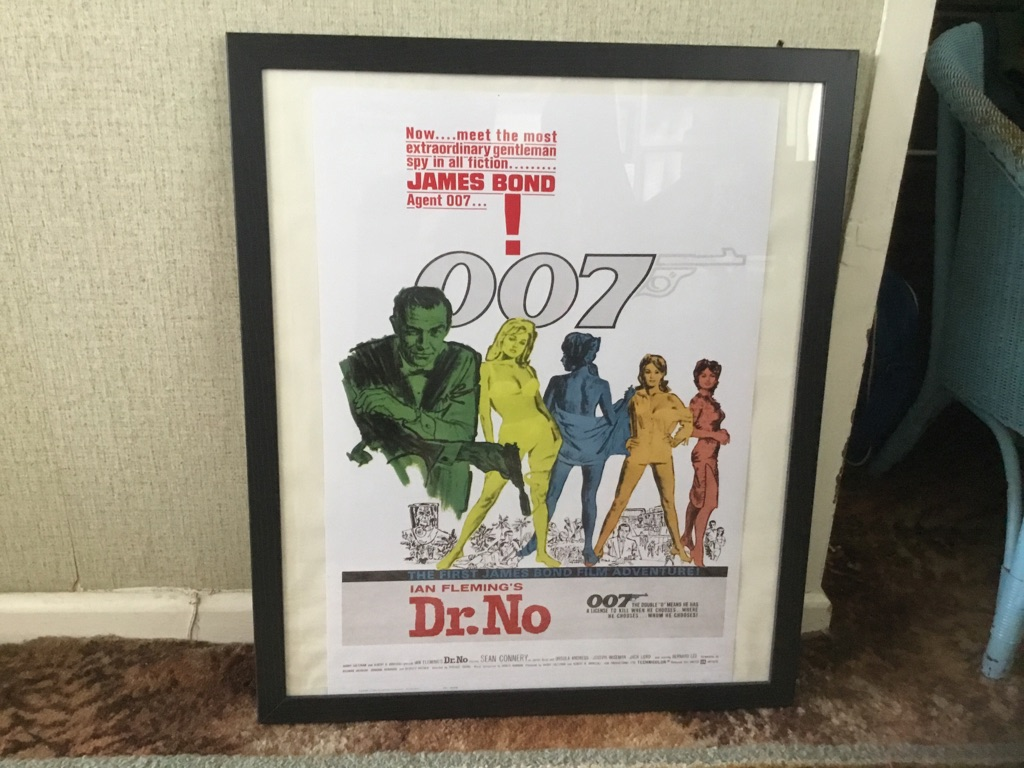 James Bond agent 007 DR NO Sean Connery cinema poster 26in 22in framed