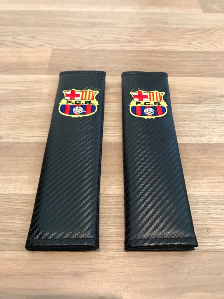 2X Seat Belt Pads Carbon Gift Spain Barcelona Cup Stadium Team Football Suporter