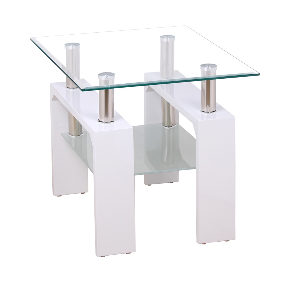 High Gloss White Lamp Table with Clear Glass Top and Frosted Shelf