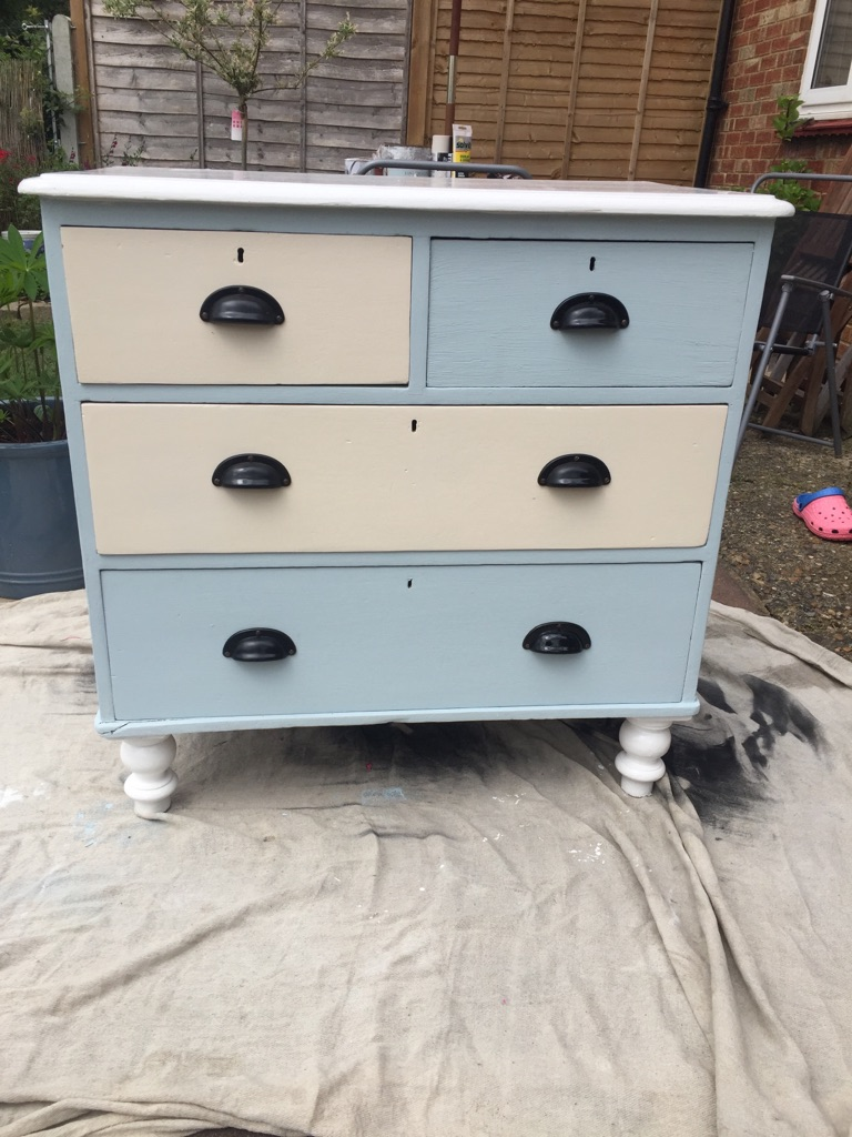New up cycled blue white and cream draws