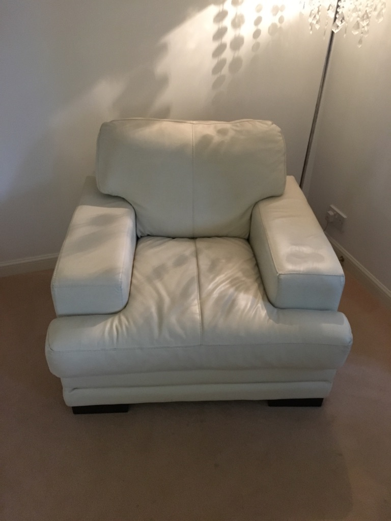 Cream leather corner suite and armchair