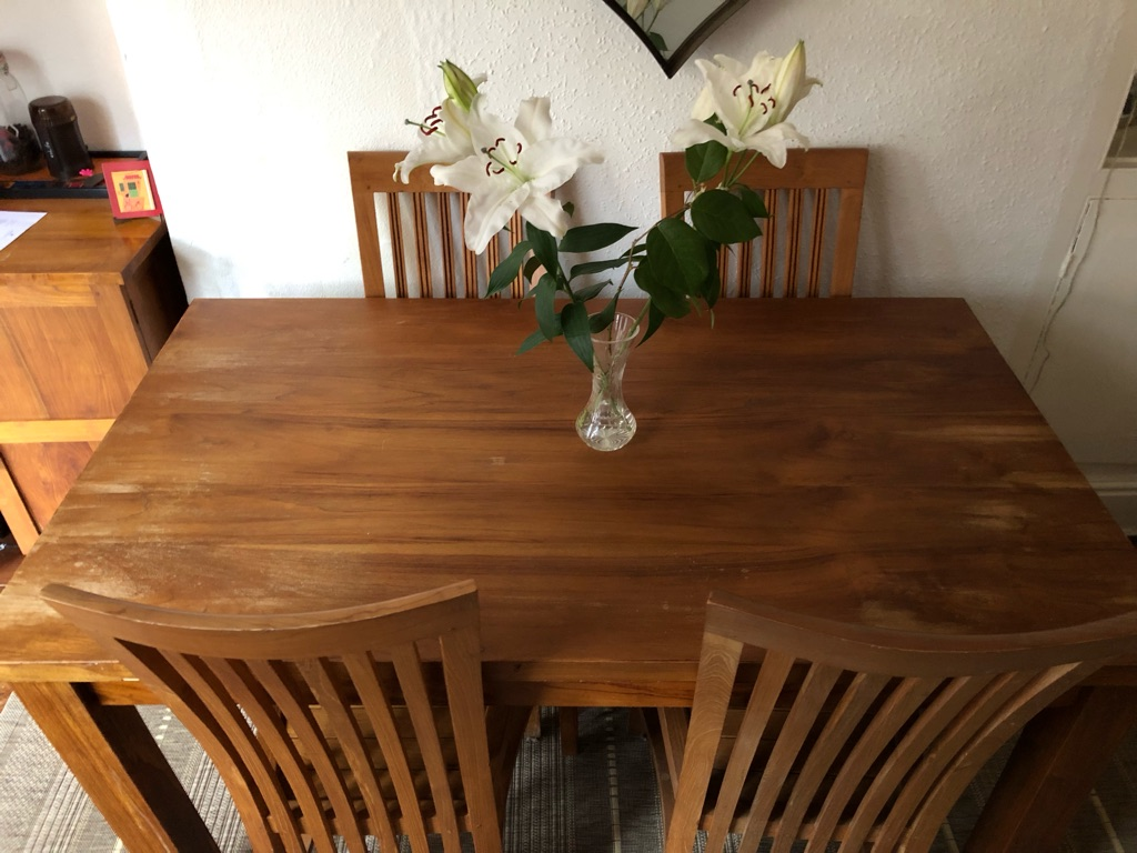Material: 100% solid teak Dining Room Table and 4 Chairs  - Honey