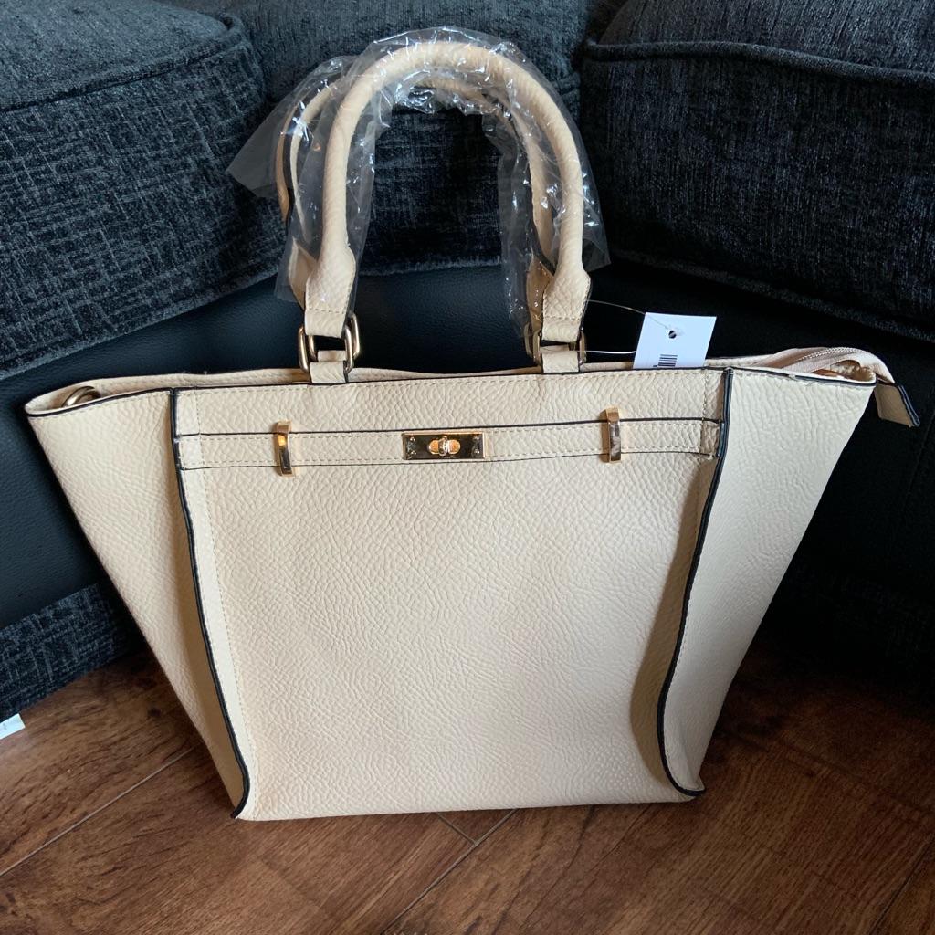 Cream leather bag