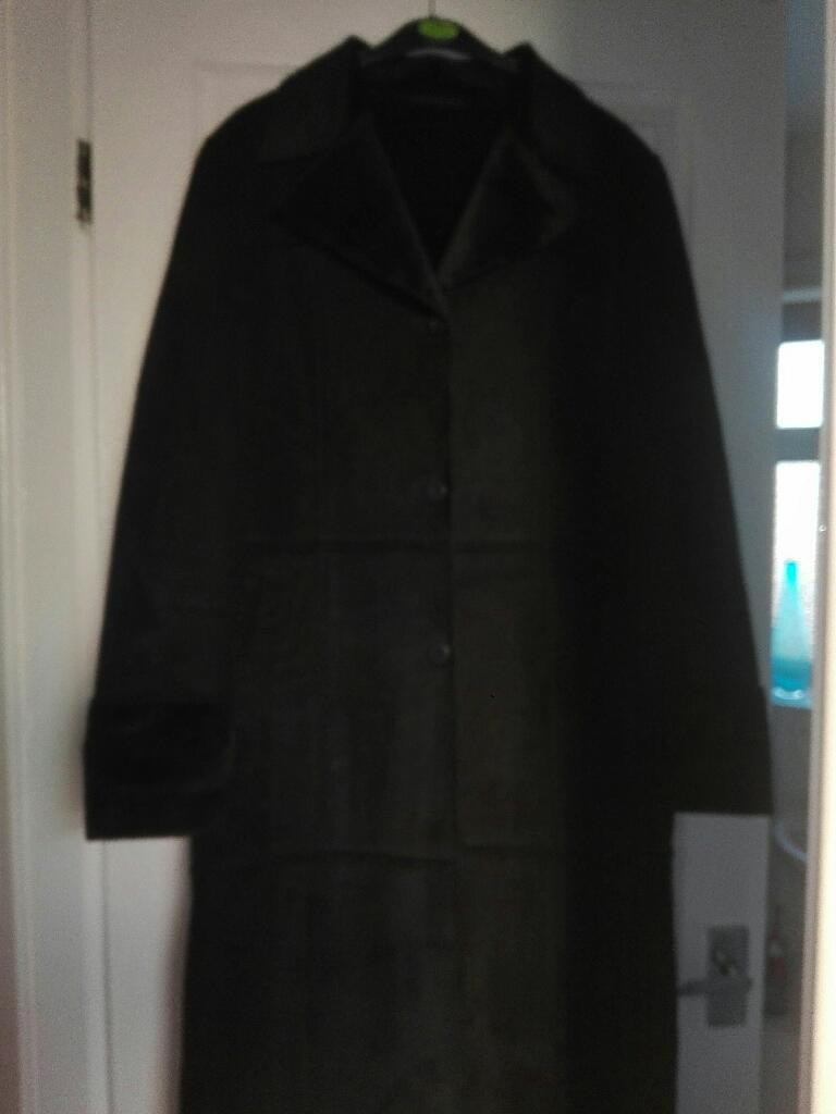 Black long sheepskin coat