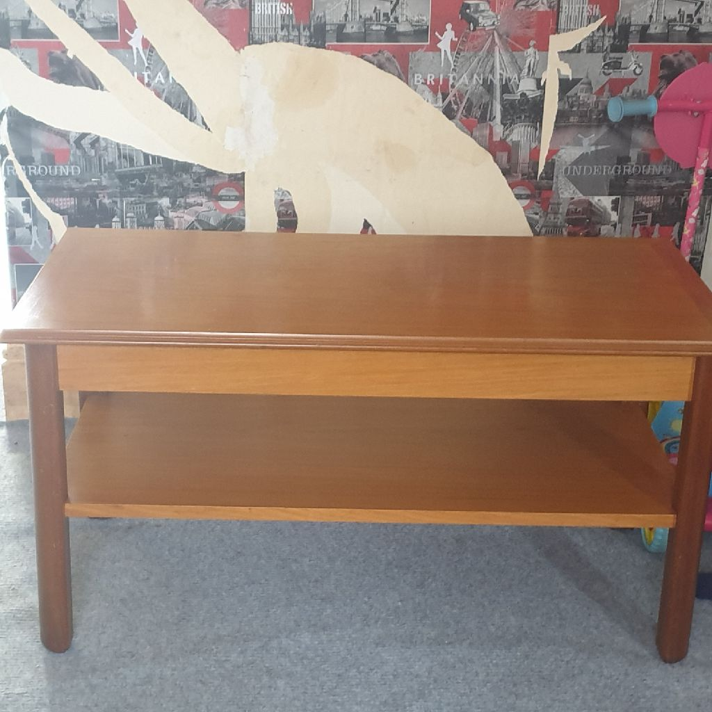 Brown wooden coffee table