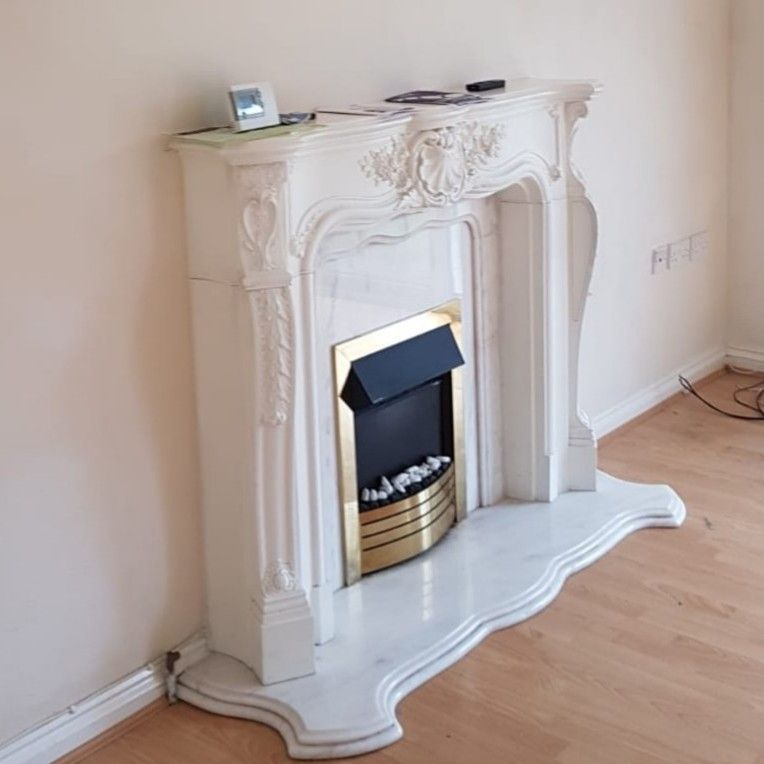 MARBLE Hearth and Fire surround with ornate mantlepiece