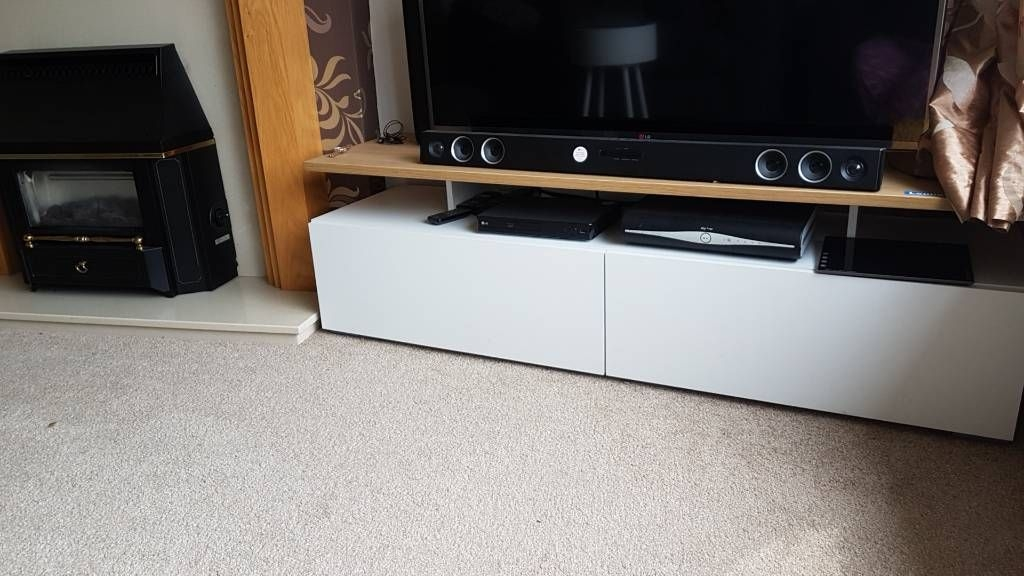 Floating TV cabinet with storage