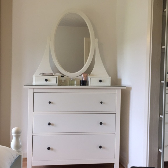 White Tallboy with matching oval mirror