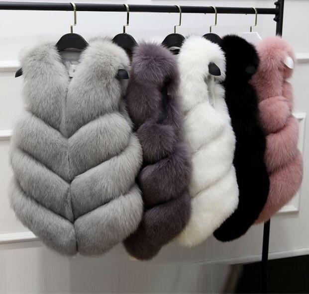 Casual slim sleeveless faux fox fur vest coat