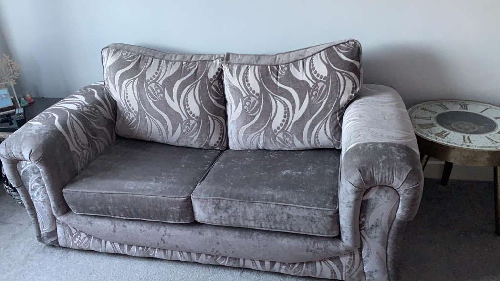 3 seater sofa bed + 2 seater, fabric,grey silver colour