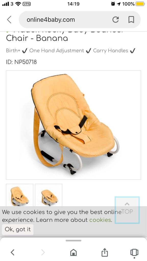 Hauck Rocky Baby Bouncer Chair - Banana