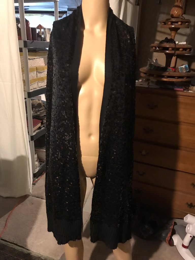 Iman Black with Black Sequins Extra Long Wrap