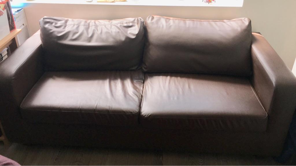 2 seater leather like sofa