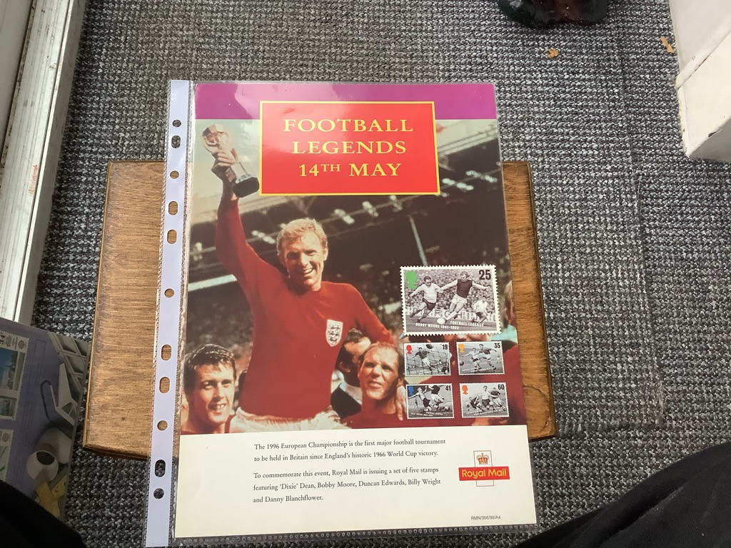 Post office special stamps football legends A4 poster 14 may 1996 EX C