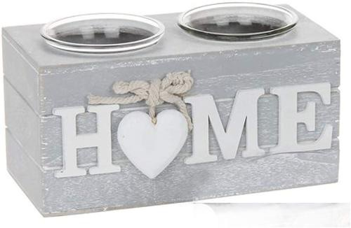 Shabby chic grey Provence heart double tealight holder 'home'