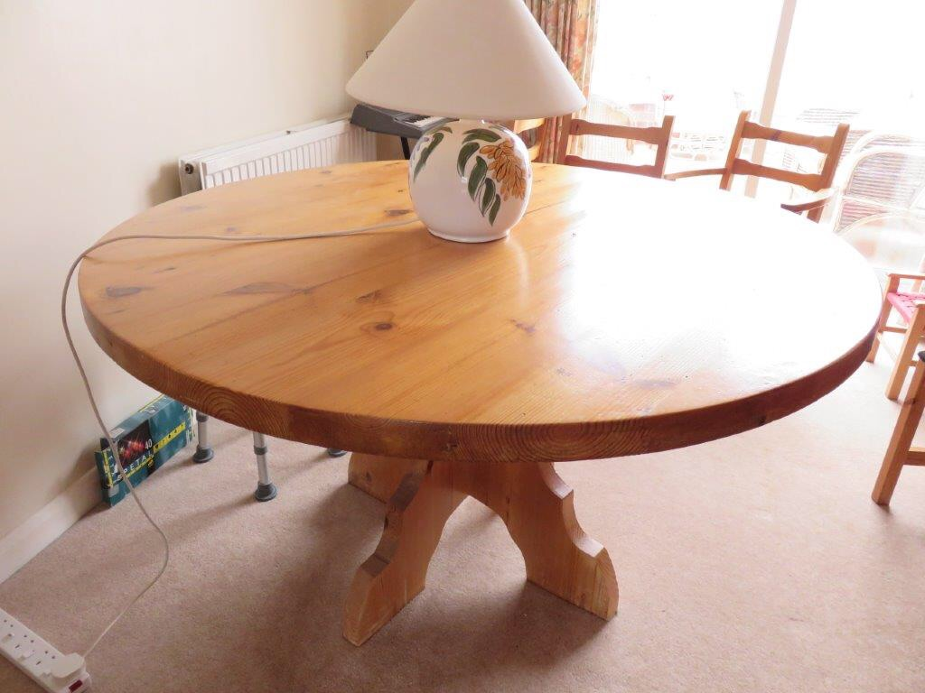 Large Round Dining Table with Six Chairs