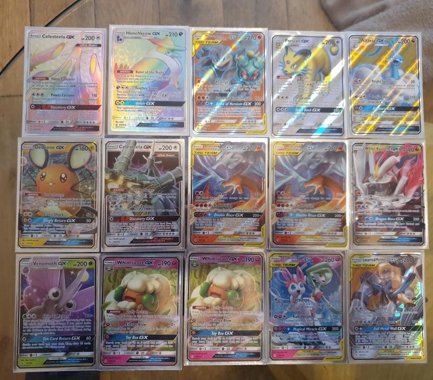 Gx, full art and rainbow rare Pokémon cards