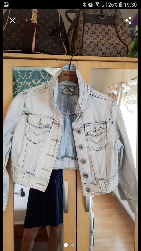 Stonewash Denim Crop Jacket Size 14