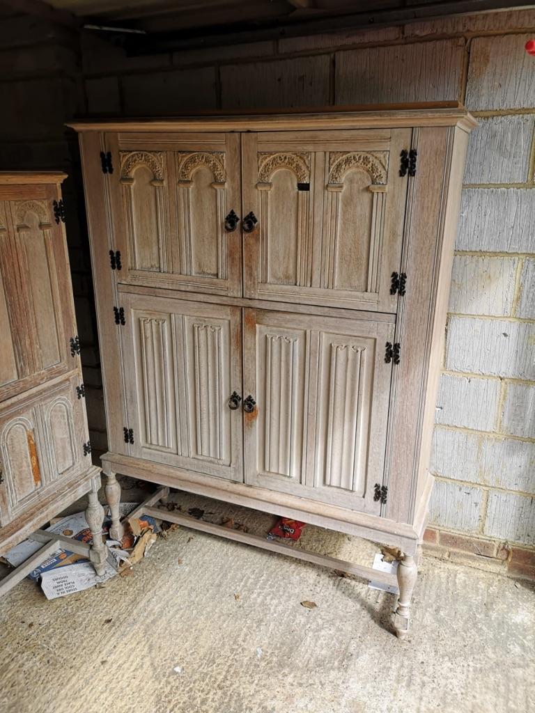 Solid lined oak linen cupboards