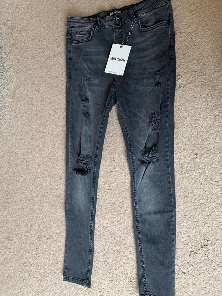 HERA LONDON New Mens Stretched Skinny Jeans Ripped,