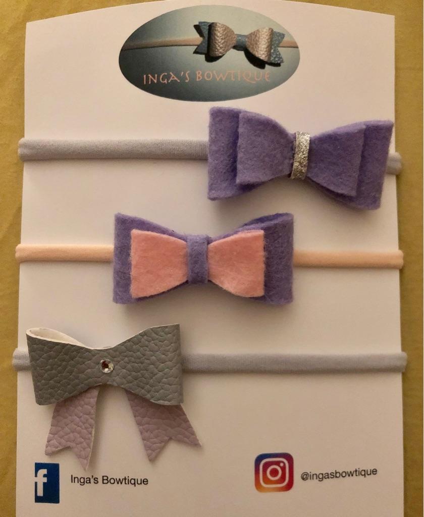 Handmade Bow Nylon Headbands Set of 3