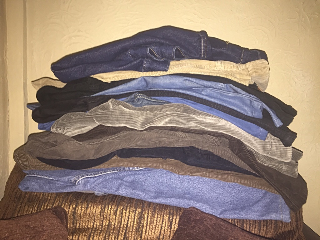 14 pair jeans and cords 4 pairs of clarks boots