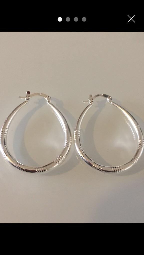 New 925 silver hoop earrings