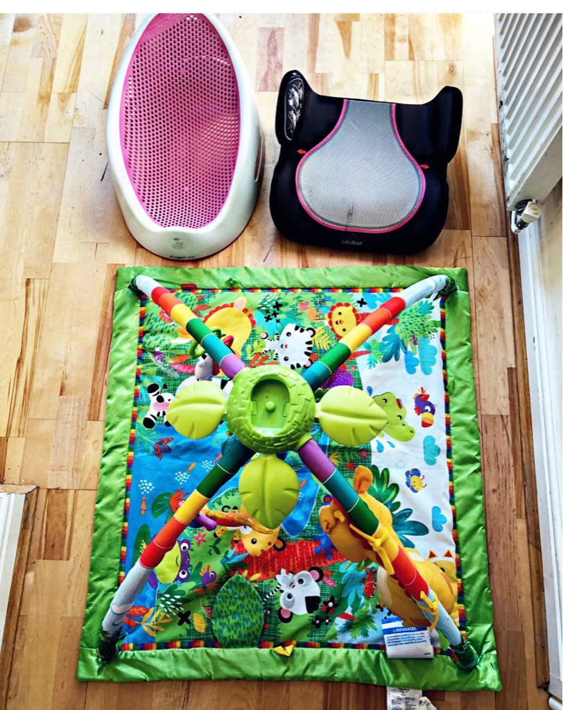 Car booster,£5,baby gym mat £10,bath support £10