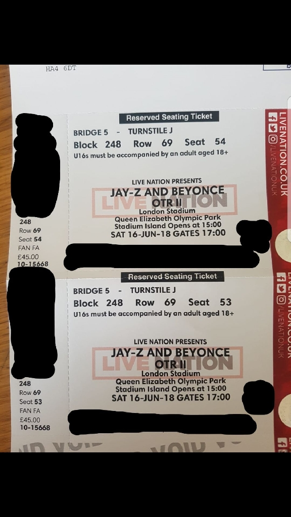 2 researved seated tickets to Beyonce and Jay-Z at the London Stadium
