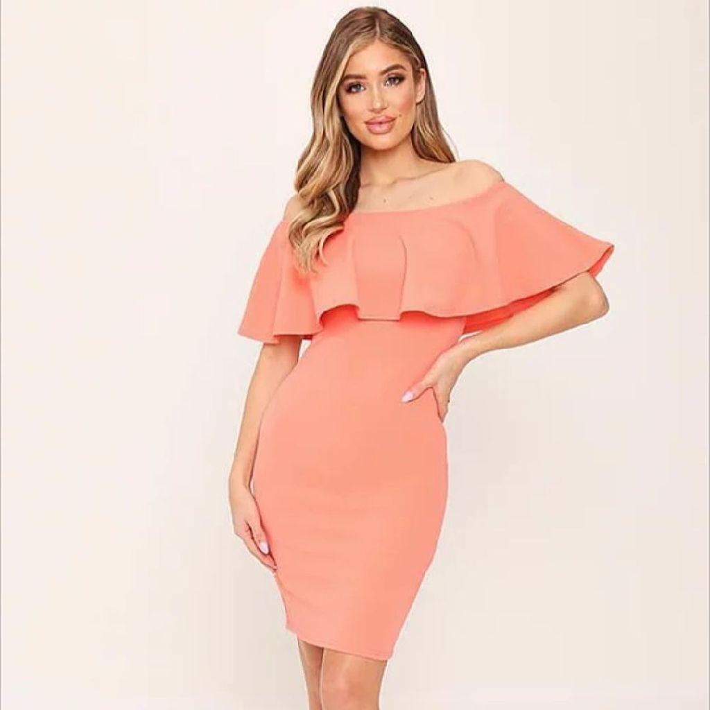Coral Bardot Frill Midi Dress