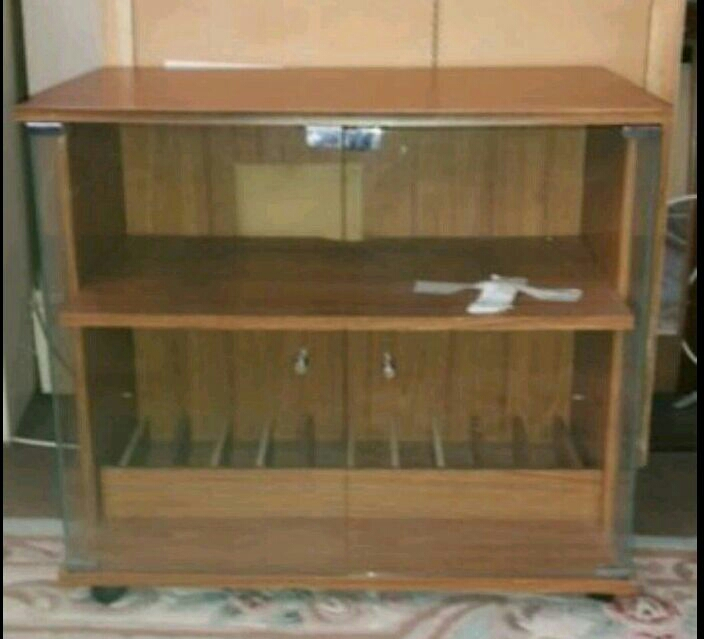Wooden and glass TV unit