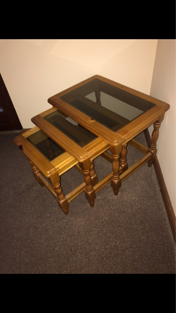 Matching pine table and nest of three glass tables