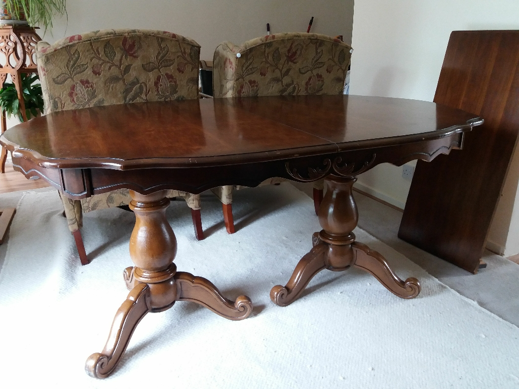 Vintage dining table with one insert and four chairs