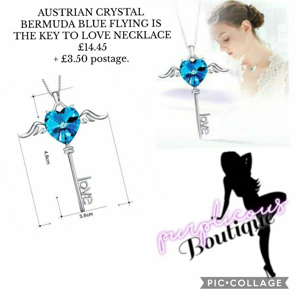 AUSTRIAN CRYSTAL BERMUDA BLUE FLYING IS THE KEY TO LOVE NECKLACE