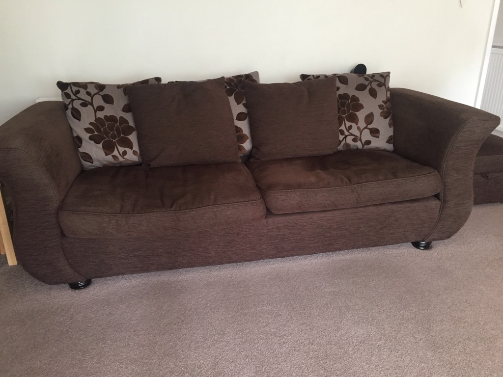 Brown fabric sofa, swivel love seat and footstool