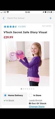 VTECH SECRET SAFE DIARY VISUAL NEW
