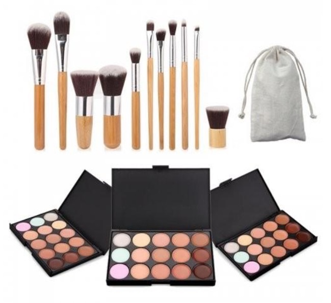 15 colours face concealer palette with 11pcs brush make up tool kit