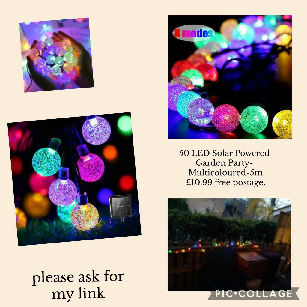 50 LED Solar Powered Garden Party- Multicoloured-5m £10.99 free shipping.