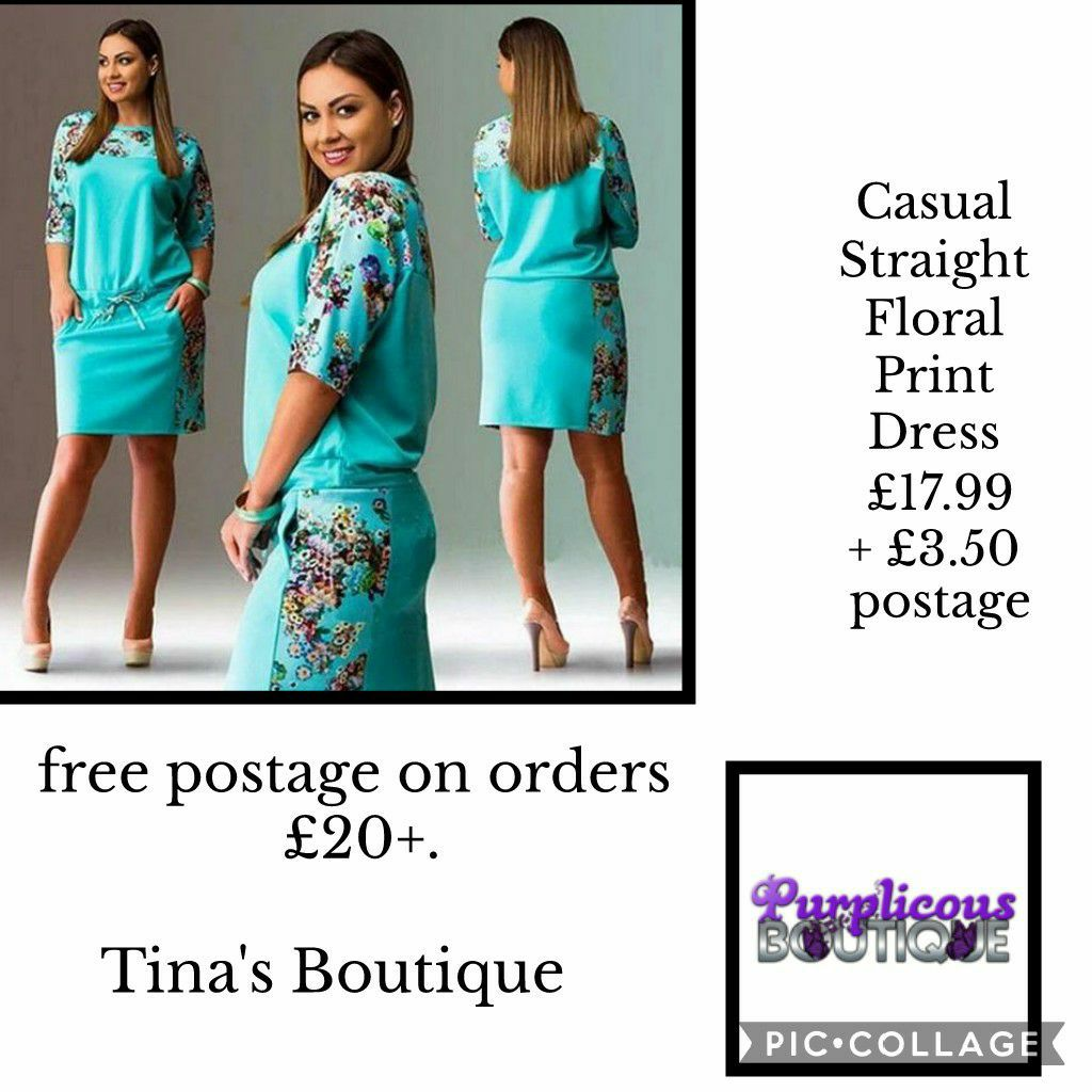 Casual Straight Floral Print Dress blue