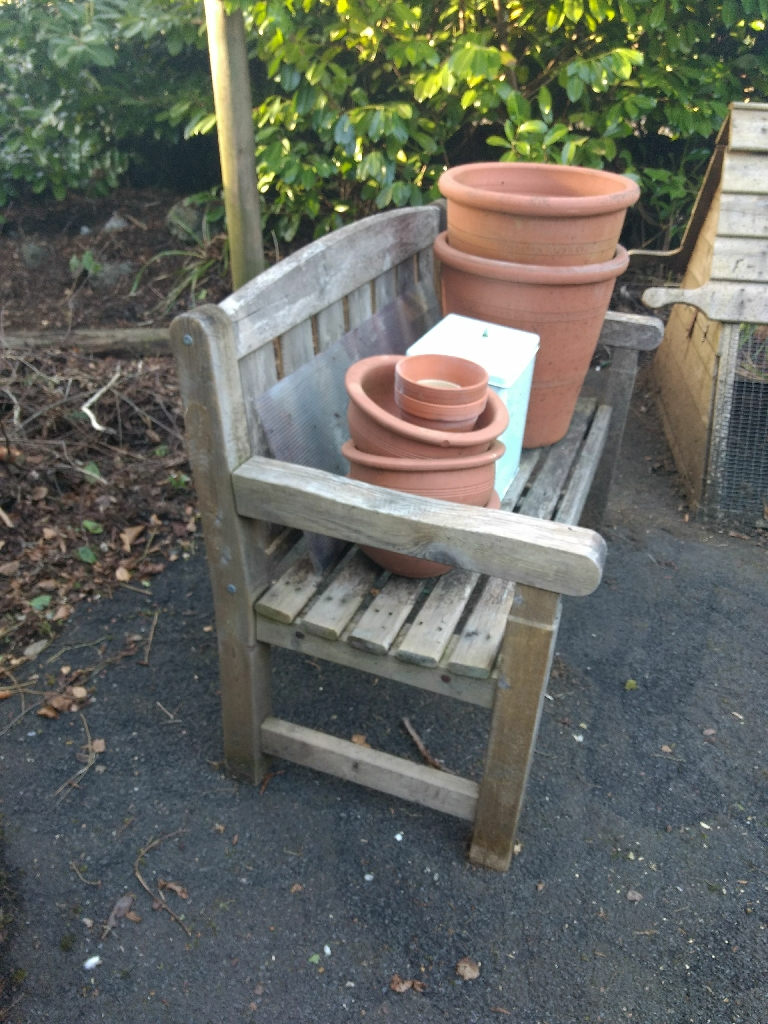 Garden planters, bench and chicken cube